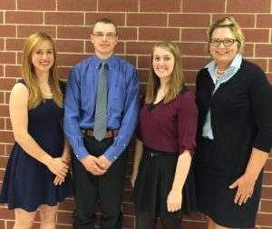 Haley Carlson, Clayton Saeugling, Emily Yager with Cathy Hansen SASF Board Member